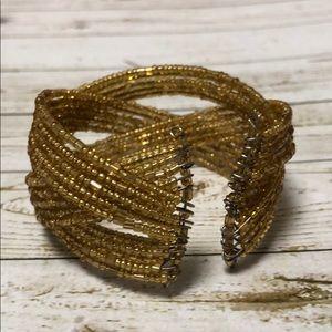 Jewelry - Gold beaded cuff bracelet and earrings set